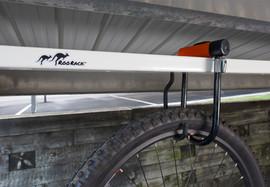 White Roo Rack - Bike in carport with U-Lock