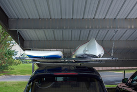 Roo Rack - Double holding SUP and kayak in carport