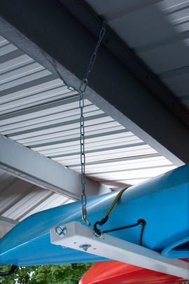Hanging chain around carport support beam