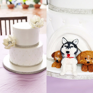Surprise two tiered wedding cake