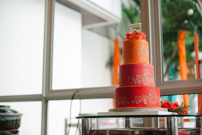3 tiered gold wedding cake