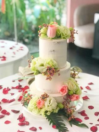 Semi naked 3 tier designer wedding cake