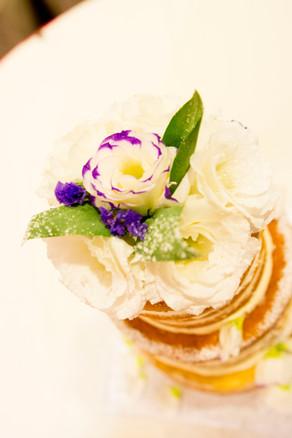 3 tiered semi naked wedding cake