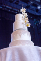 4 tier Cascading Orchid Wedding Cake