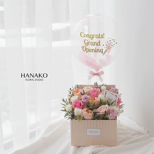 BOXED FLOWER with BALLOON