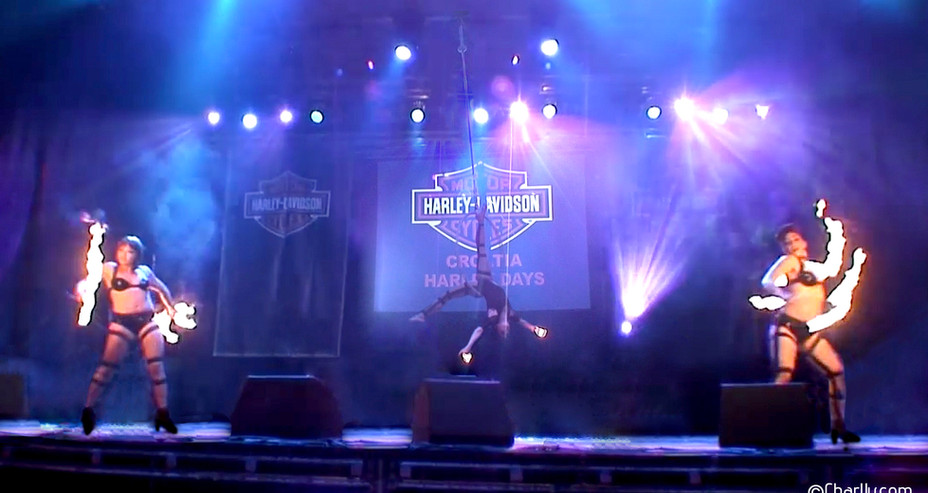 HARLEY DAVIDSON EVENT FIRE AND AERIAL HOOP SHOW