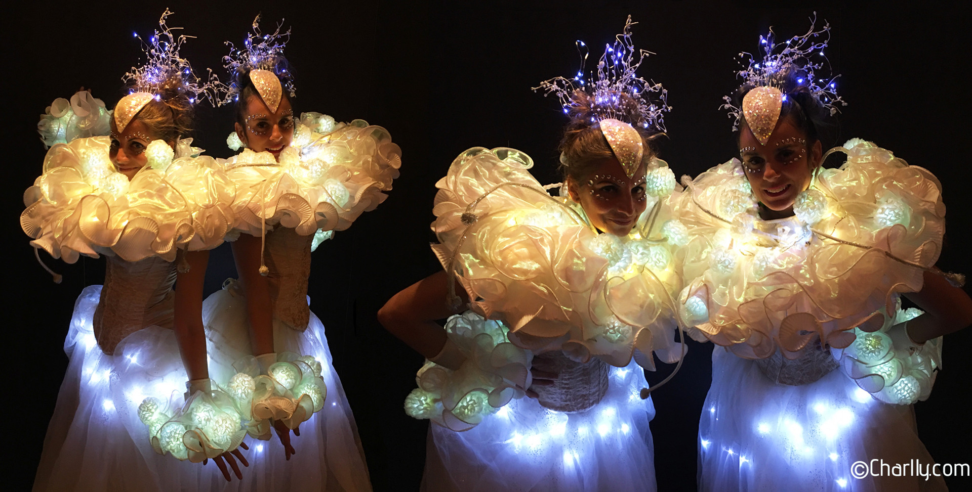 WHITE ILLUMINOUS STILT COSTUMES