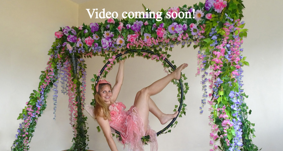 FLOWER & FOLIGE THEMED PORTABLE AERIAL RIG WITH FLOWER FAIRY COSTUME ON HOOP