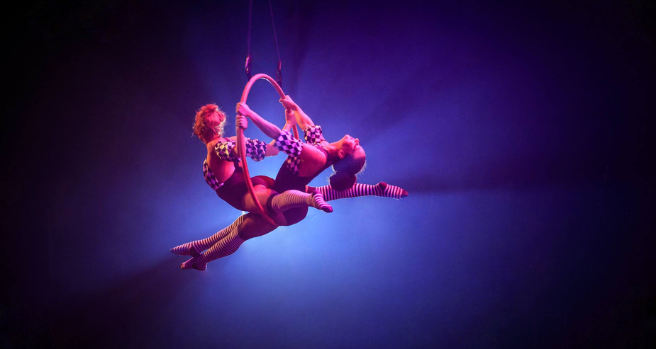 CIRCUS COSTUME THEMED DOUBLE AERIAL HOOP
