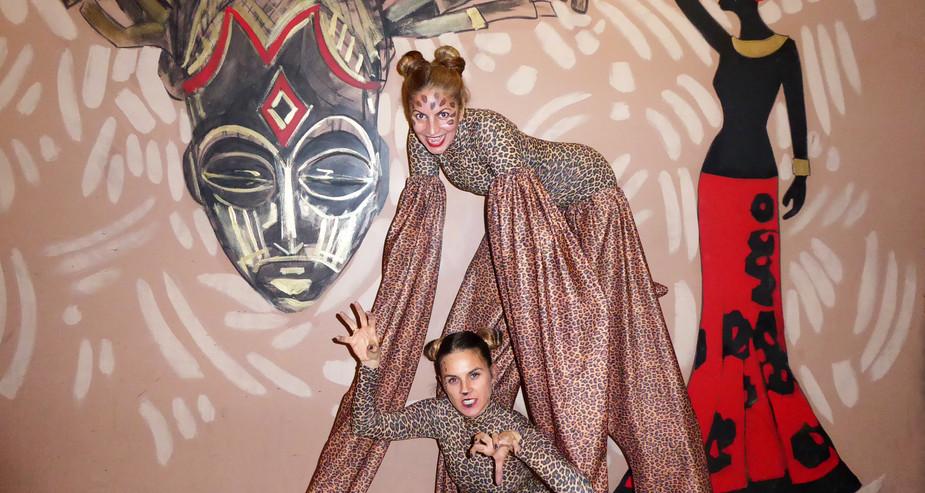 4 Legged peg stilts & acro Jungle cats w