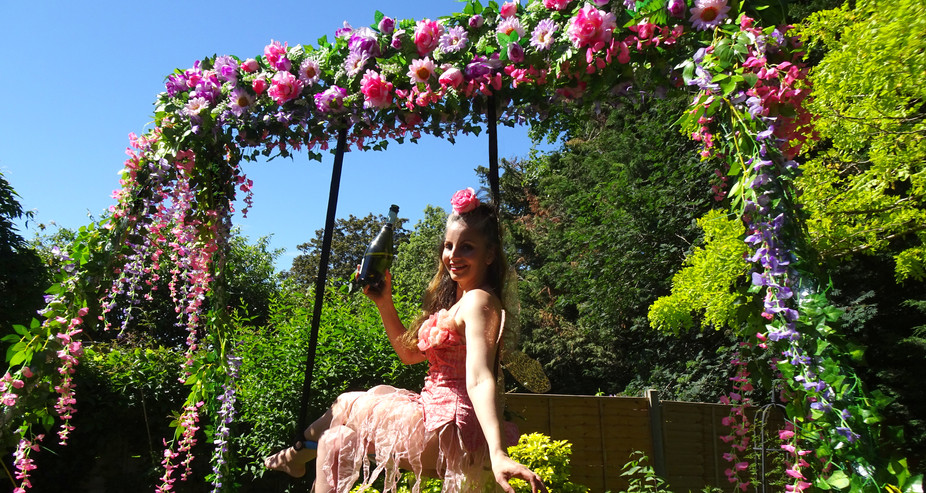 Champagne pouring aerial flower rig