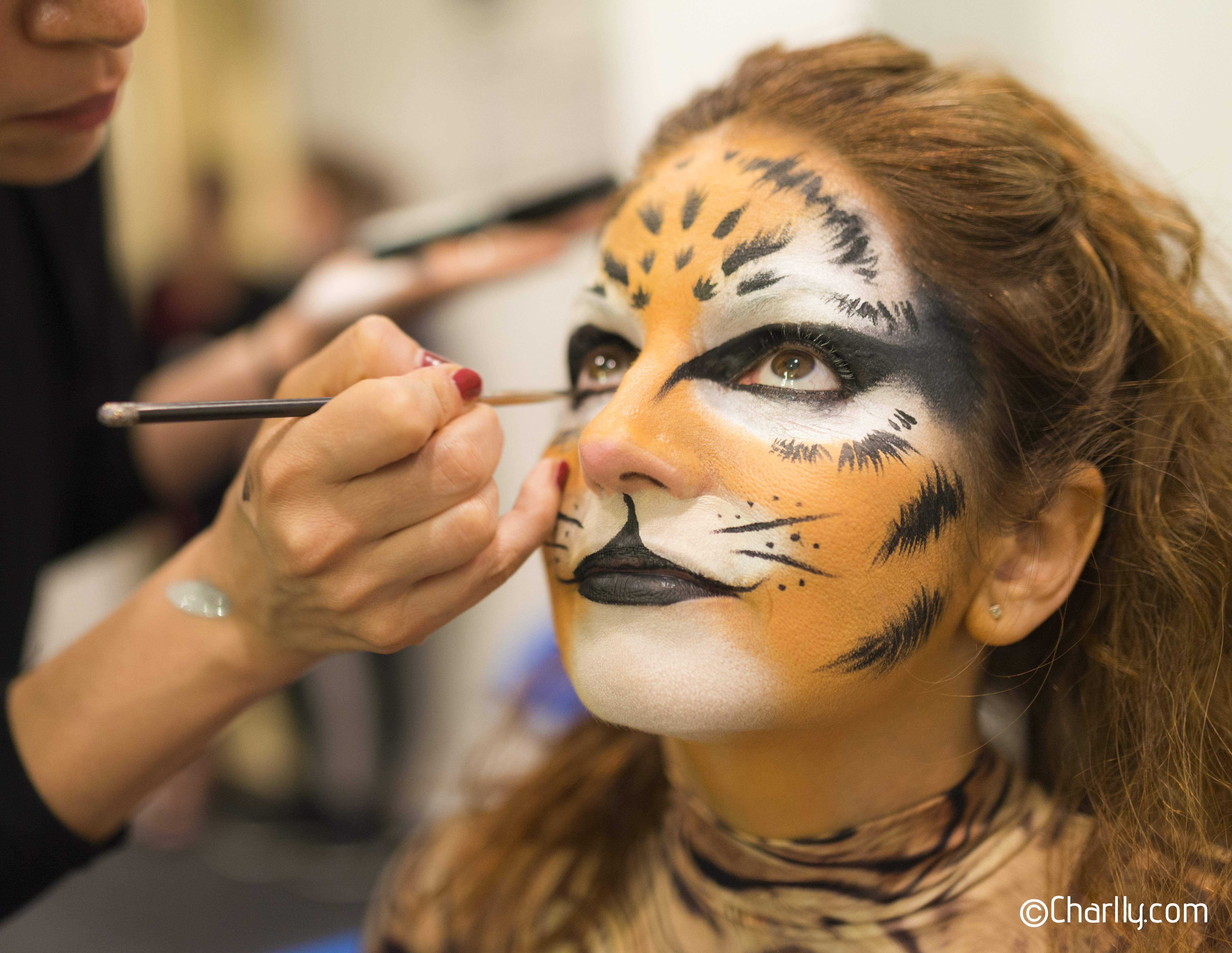 Back stage make-up performing with Cirqu