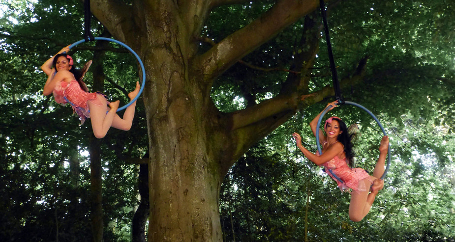 AERIAL HOOP FLOWER FARIES FOR OUTDOOR EVENT