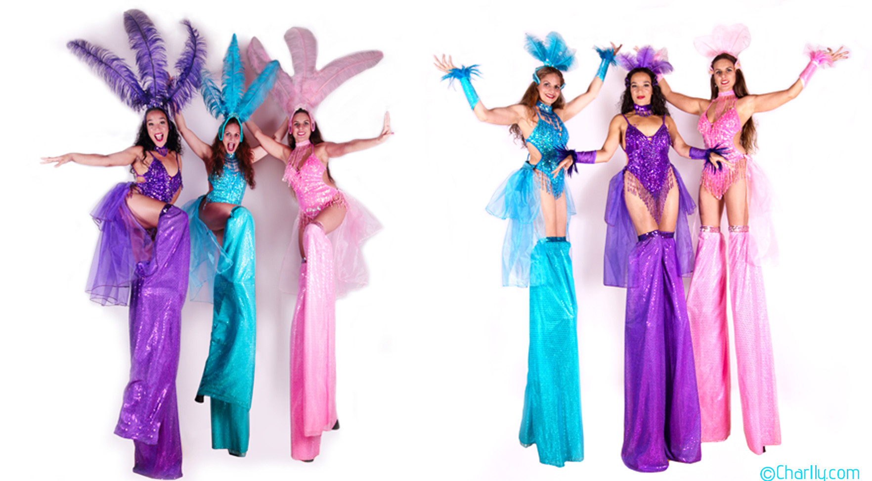 SHOW GIRL STILT WALKING COSTUMES x 3