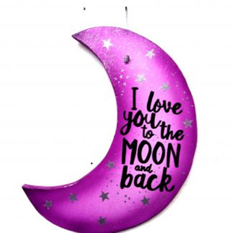 I love you to the moon and back Hanging wall Plaque. Purple & White