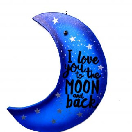 I love you to the moon and back Hanging wall Plaque. Purple & Blue