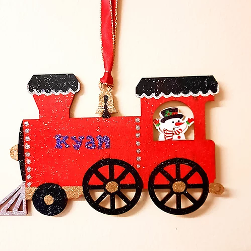 Personalised Wooden Hanging Train Decoration