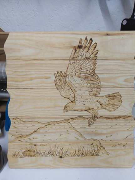 Rustic Wall Mounted Plaque: Hawk and Mouse
