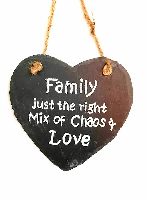 Slate Hanging Wall Plaque: Family Just the Right Mix