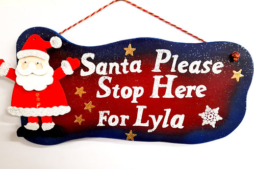 Personalised Hanging Santa Stop Here Sign