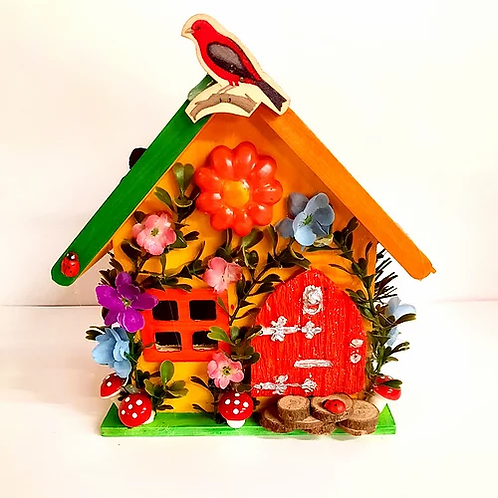 Wooden Fairy House Orange & Green Roof