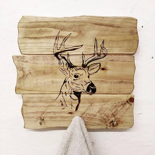 Rustic Wall Mounted Plaque: Deer with Hooks