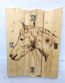 Rustic Pyrography Horse Wall Clock