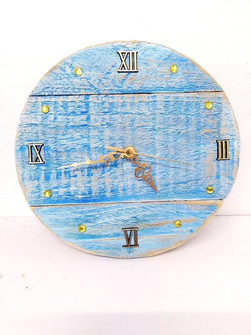 Rustic Blue small  Wall Clock