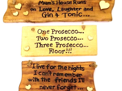 Wood Wall Plaques: Various Wording