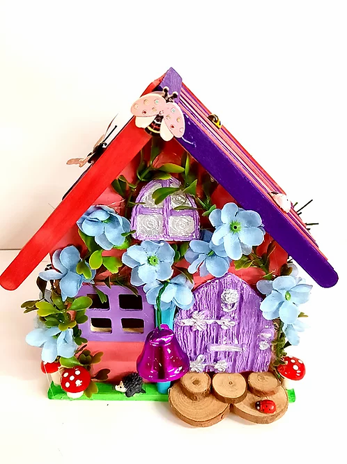 Wooden Fairy House Pink & Purple Roof