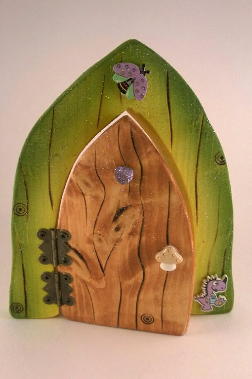 Olive Green, Yellow and Natural Fairy Door