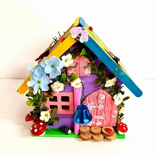 Wooden Fairy House Yellow & Blue Roof