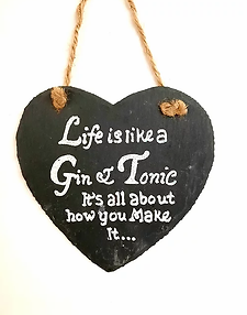 Hanging Slate Heart Plaque