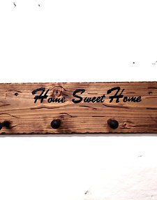 Rustic Home Sweet Home Wooden Coat Hooks