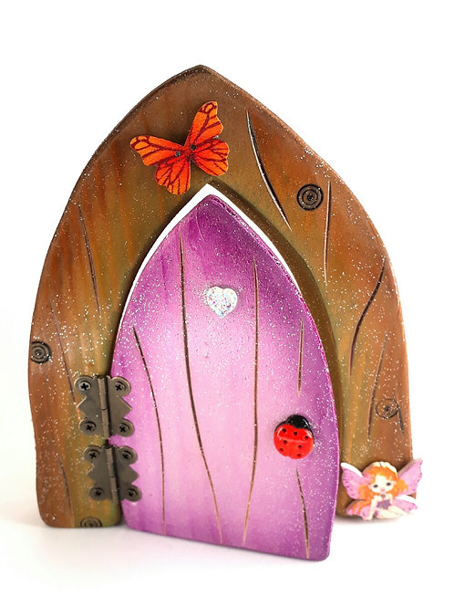 Olive Green, Natural and Purple Fairy Door