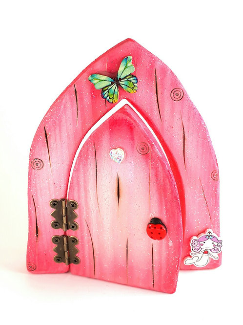 The Classic Collection:Pink & White Opening Fairy Door
