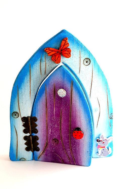 Blue, White and Purple Fairy Door