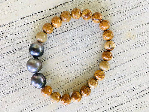 PETRIFIED WOOD JASPER Bracelet