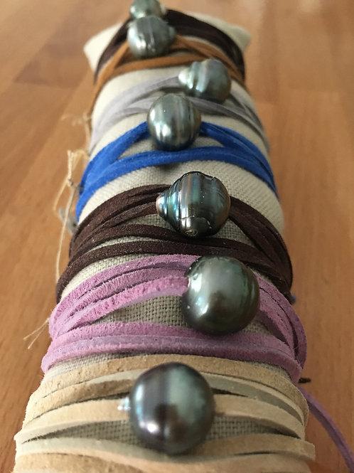 Tahitian Pearl Leather Wrap