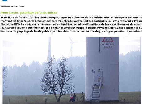 Mont-Crosin : gaspillage de fonds publics