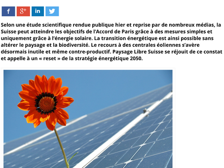 La Suisse peut atteindre les objectifs de l'Accord de Paris uniquement grâce à l'énergie solaire.
