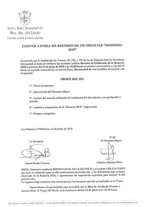 Recuerda  ... Convocatoria de Reunión de Incidencias Romería 2018.