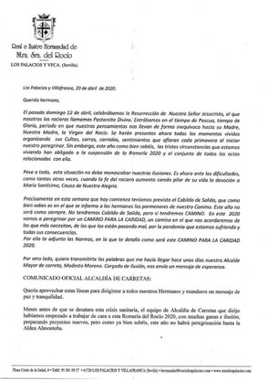 Carta del Hermano Mayor y Alcaldía de Carreta.