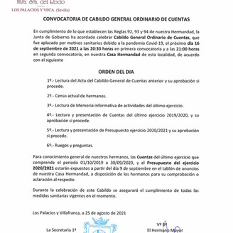Convocatoria Cabildo General de Cuentas