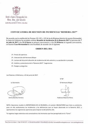 Recuerda. Mañana Convocatoria de Reunión de Incidencias Romería 2017.