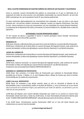 Comunicado Oficial. CULTOS PENTECOSTÉS 2020