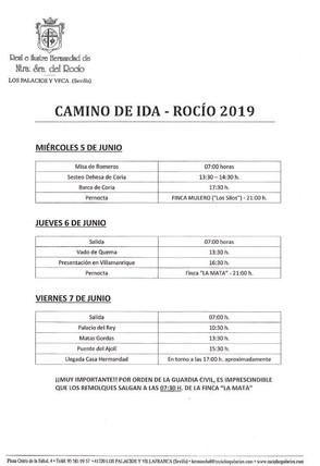 Horarios Rocío 2019