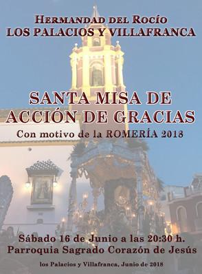 Próximo Sábado Misa Acción de Gracias