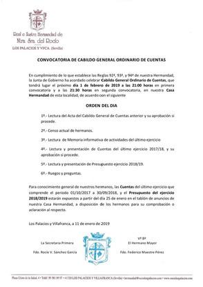 Convocatoria de Cabildo General Ordinario de Cuentas