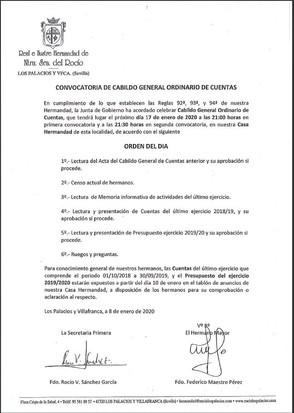 Convocatoria de Cabildo General de Cuentas